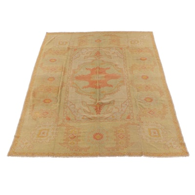 10'2 x 13'9 Hand-Knotted Turkish Oushak Wool Rug