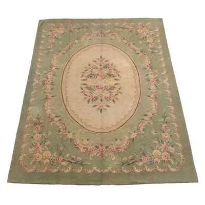 8'7 x 12'0 Handmade Hooked Floral Wool Rug