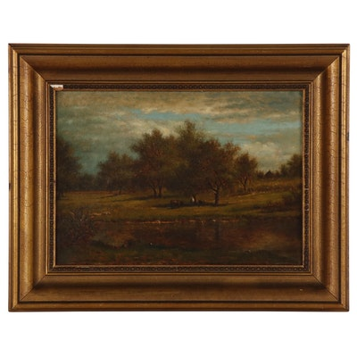 Albert Insley Pastoral Landscape Oil Painting