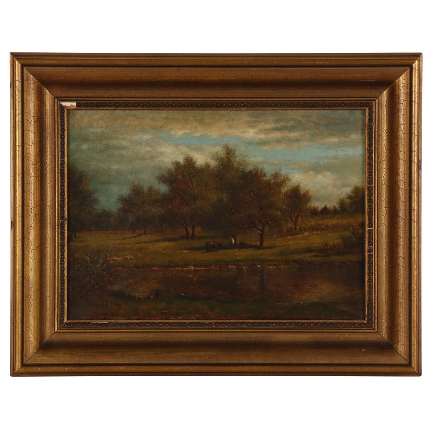 Albert Insley Pastoral Landscape Oil Painting