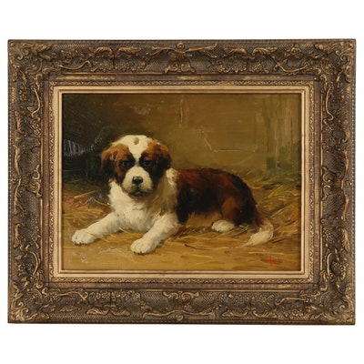 Jean Lefort Oil Painting of St. Bernard Puppy
