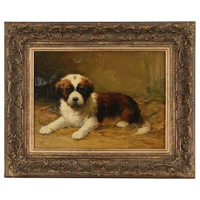 Jean Lefort Oil Painting of St. Bernard Puppy