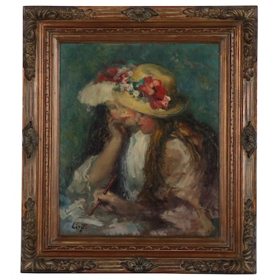 Maria Liszt Oil Painting of Two Girls