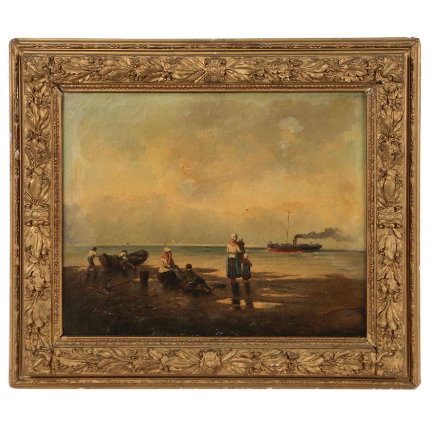 Beach Scene Oil Painting, Late 20th Century