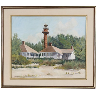 Sanibel Lighthouse Oil Painting, Late 20th Century