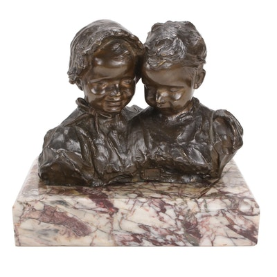 Giovanni De Martino Bronze Busts of Boy and Girl, Early 20th Century