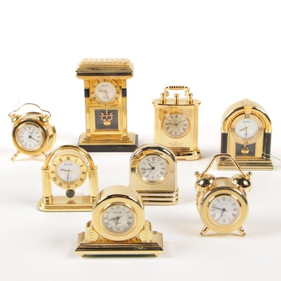 Bulova and Attona Miniature Brass Tone Clocks