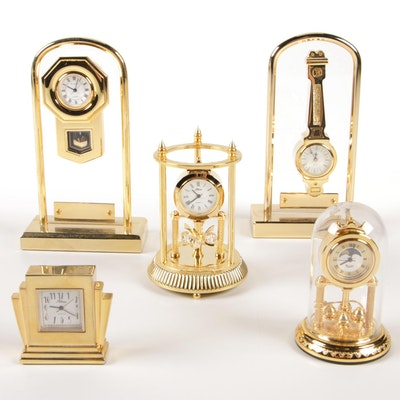 Bulova and Attuna Miniature Brass Tone Clocks, Late 20th Century