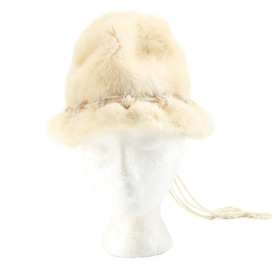 Sally Victor Mink Fur Cloche Hat with Drawstring Tassels, Vintage