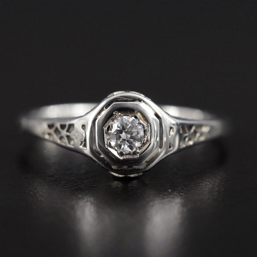 Art Deco 18K White Gold Diamond Filigree Ring