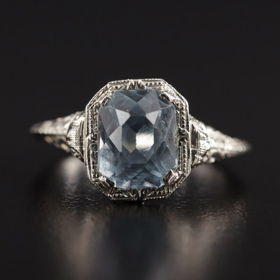 Edwardian 14K White Gold Aquamarine Filigree Ring