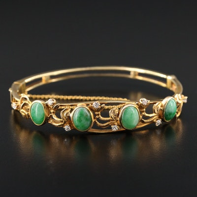 Vintage 14K Yellow Gold Jadeite and Diamond Bracelet