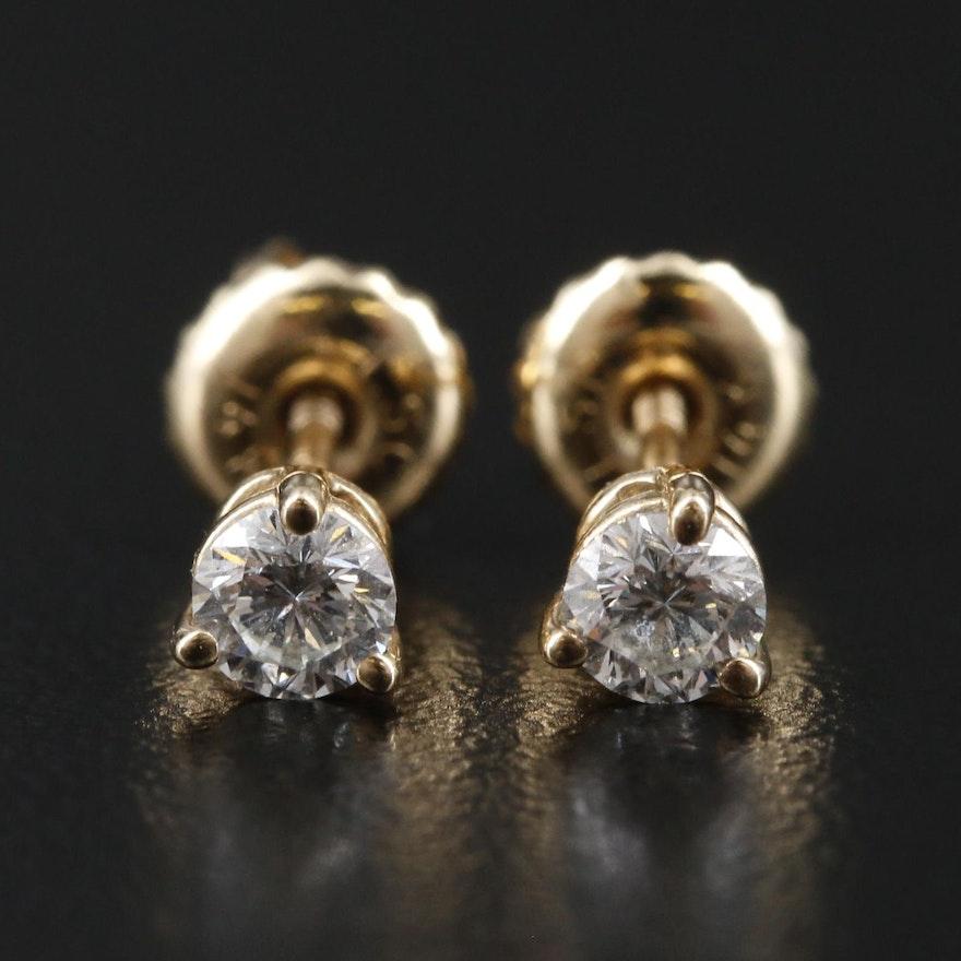 14K Yellow Gold 0.30 CTW Diamond Stud Earrings
