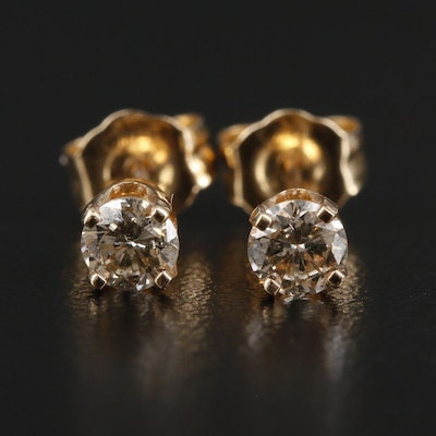 14K Yellow Gold 0.32 CTW Diamond Stud Earrings