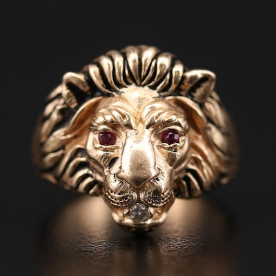 10K Yellow Gold Ruby and Diamond Lion Motif Ring