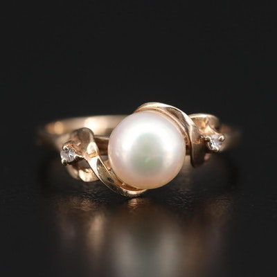 10K Yellow Gold Pearl and Diamond Ring
