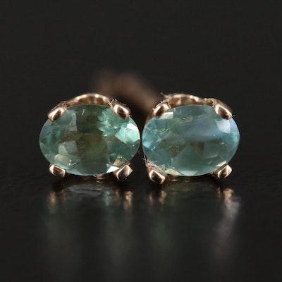 14K Yellow Gold Fancy Sapphire Stud Earrings