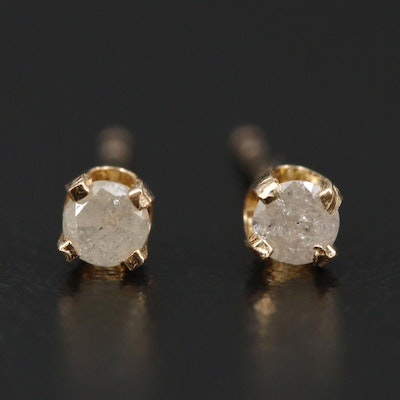 14K Yellow Gold Diamond Solitaire Earrings