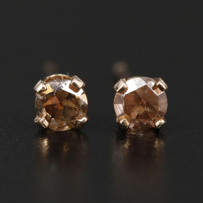 14K Yellow Gold 0.35 CTW Brown Diamond Stud Earrings