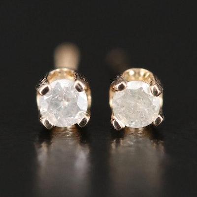 14K Yellow Gold, Single 0.20 CTW Diamond Solitaire Stud  Earrings
