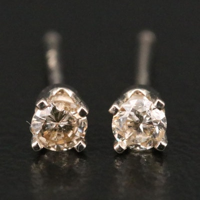 14K Yellow Gold 0.15 CTW Diamond Solitaire Stud Earrings