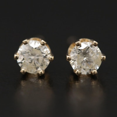 14K Yellow Gold 0.42 CTW Diamond Solitaire Stud Earrings