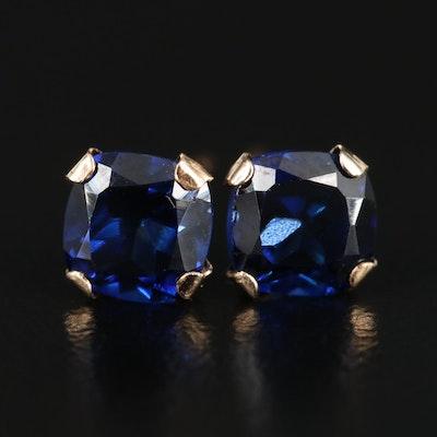 10K Yellow Gold Synthetic Sapphire Stud Earrings