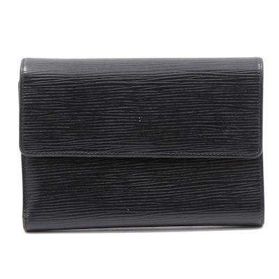Louis Vuitton Black Epi Leather Flap Wallet