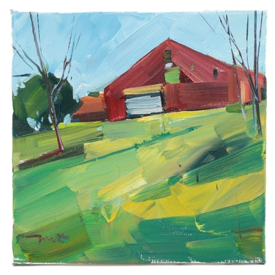 """Jose Trujillo Landscape Oil Painting """"The Red Barn House,"""" 2019"""