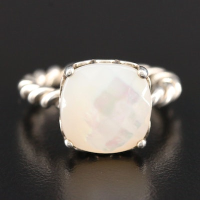 "Pandora ""Elegant Sincerity"" Sterling Silver Mother Of Pearl Ring"
