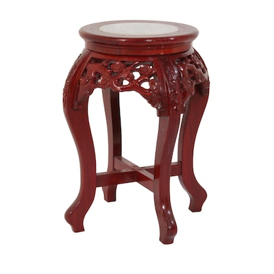 Southeast Asian Style Carved Rosewood-Stained Plant Stand with Marble Top