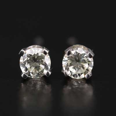14K White Gold 0.32 CTW Diamond Solitaire Stud Earrings