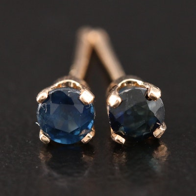 14K Yellow Gold Sapphire Stud Earrings