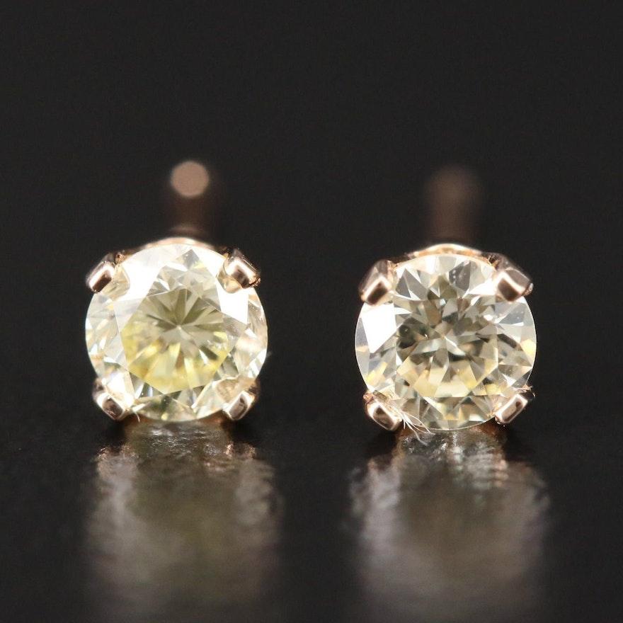 14K Yellow Gold 0.32 CTW Diamond Stud Earrings