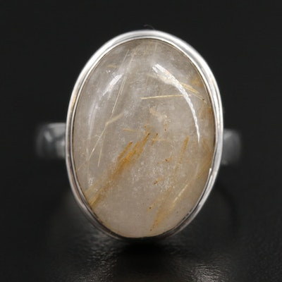 Sterling Silver Oval Rutilated Quartz Ring