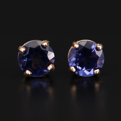 14K Yellow Gold Glass Stud Earrings