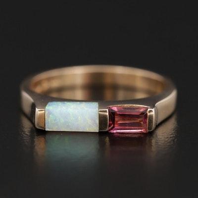 Kabana 14K Gold Opal and Pink Tourmaline Stackable Ring