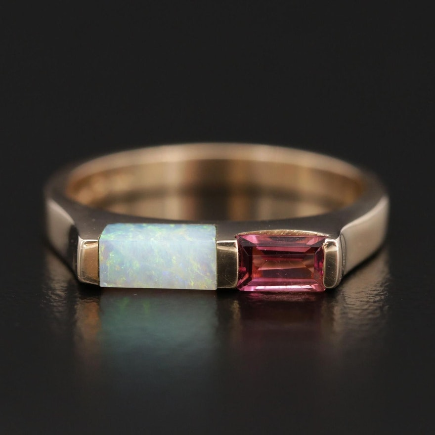Kabana 14K Gold Opal and Pink Tourmaline Stackable Ring