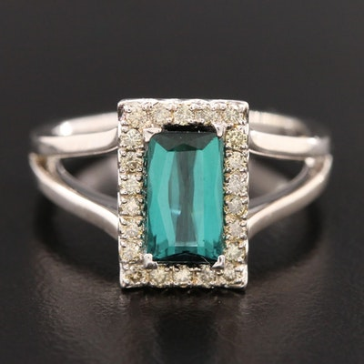 14K White Gold Tourmaline and Diamond Ring