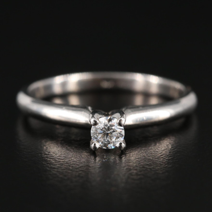 14K White Gold 0.15 CT Solitaire Ring