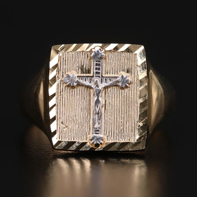 Michael Anthony 14K Yellow Gold Crucifix Ring with 14K White Gold Accent