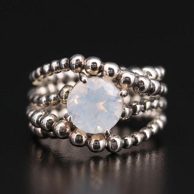 Michael Dawkins Sterling Silver Quartz Bead Ring