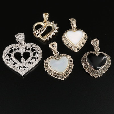 Sterling Silver Diamond, Mother Of Pearl and Marcasite Heart Pendants