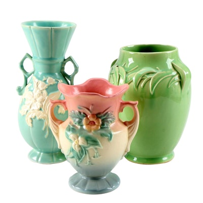 Weller, McCoy and Hull Art Pottery Vases, Early to Mid 20th Century