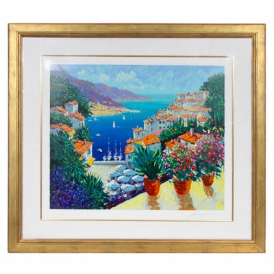 """Kerry Hallam Harbor Landscape Serigraph """"Sur la Port"""""""