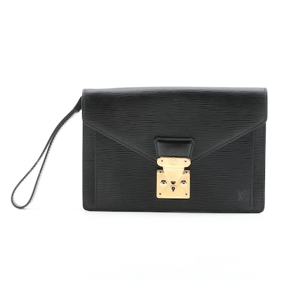 Louis Vuitton Sellier Dragonne Envelope Clutch in Black Epi Leather