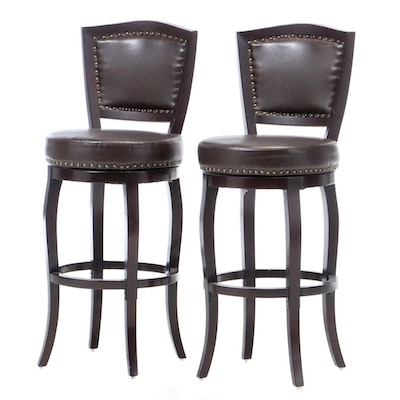 Pair of Vinyl Upholstered Swivel Barstools