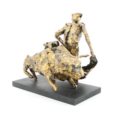 Brutalist Torch Cut Metal Bull and Matador Sculpture, Mid 20th Century