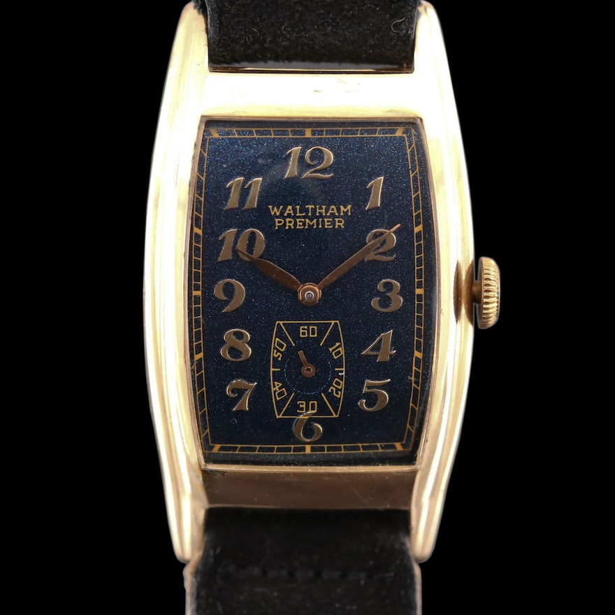 Vintage Waltham Premier 10K Gold Filled Stem Wind Wristwatch
