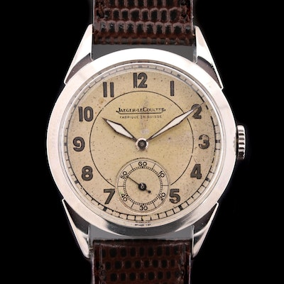 Vintage Jaeger - LeCoultre Stainless Steel Stem Wind Wristwatch